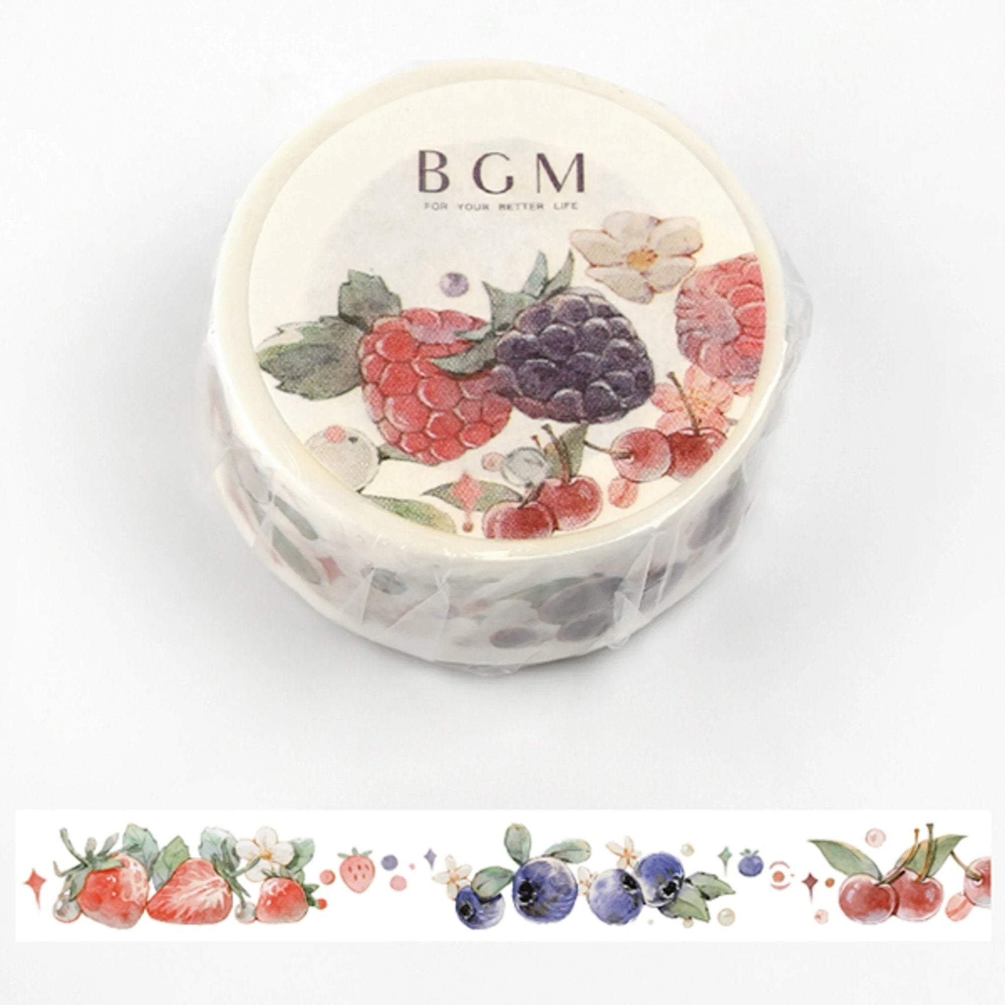 BGM Life Berries Strawberry Raspberry Blackberry Washi Tape - The Stationery Life!