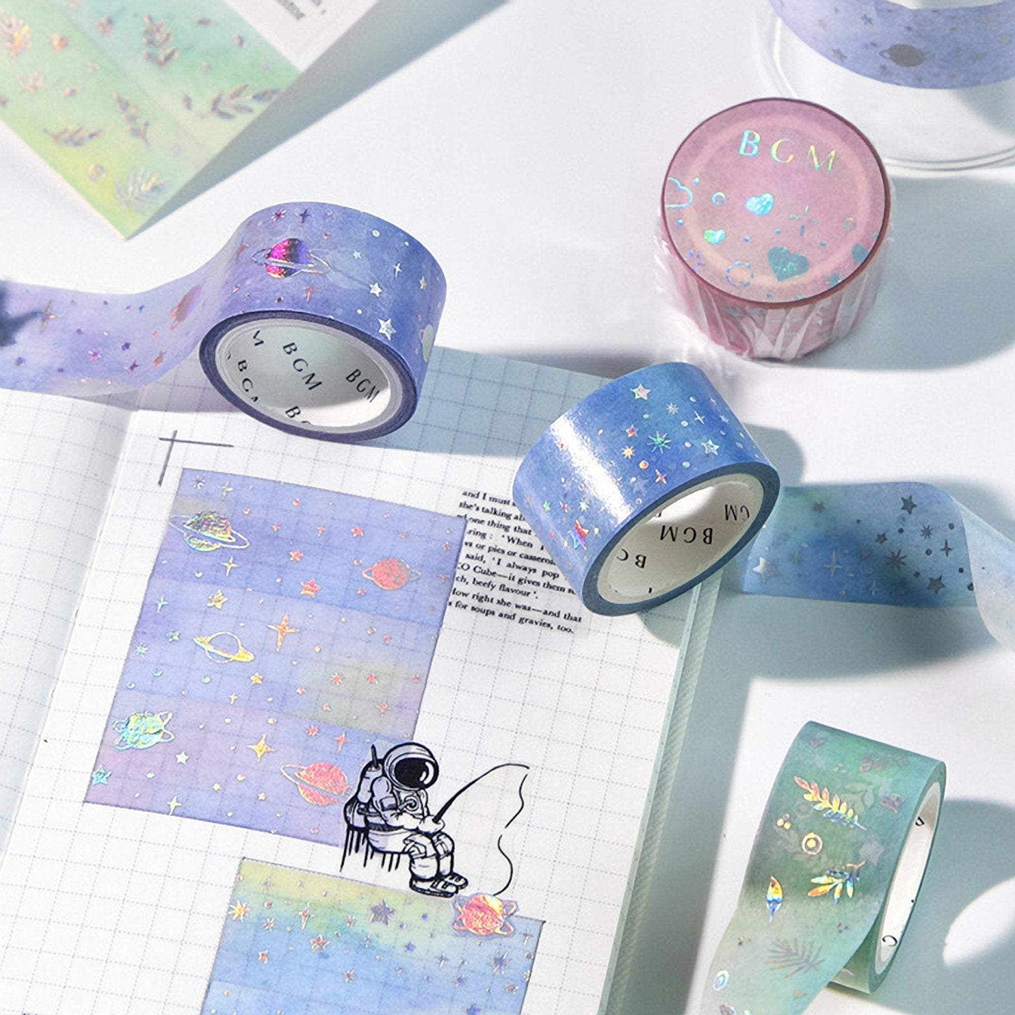 BGM Macaroon Galaxy Green Leaf GOLD FOIL Washi Tape - The Stationery Life!