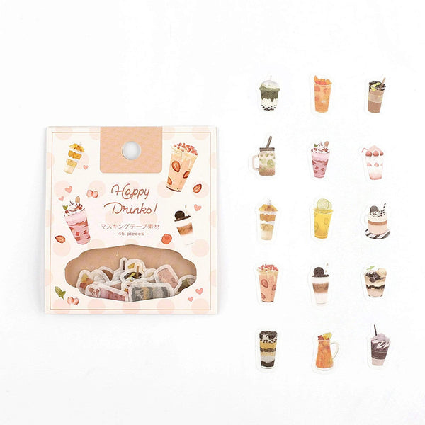BGM Premium Die-Cut Flake Coffee Smoothie Frappe Frappuccino Drinks Gold Foil Stickers - The Stationery Life!