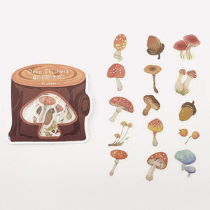 BGM Premium Die-Cut Flake Mushroom Gold Foil Stickers - The Stationery Life!