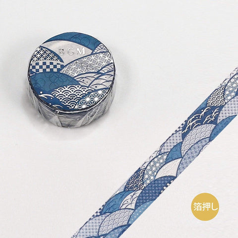 BGM Wave Scallops Tile Gold Foil Washi Tape - The Stationery Life!