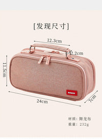 BLACK Extra Large Canvas Pen Case Pencil Case Storage Case Pencil Case Sectional Pen Case - The Stationery Life!