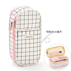 BLACK PINK & WHITE Checkered Expandable Canvas Pen Case Pencil Case Expandable Case Storage Case - The Stationery Life!
