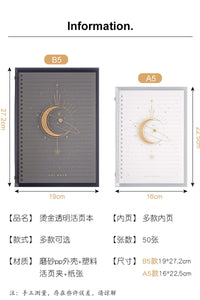 Celestial Moon Constellations Focus Binder Gold Foil Black | B5 Hanging Star - The Stationery Life!