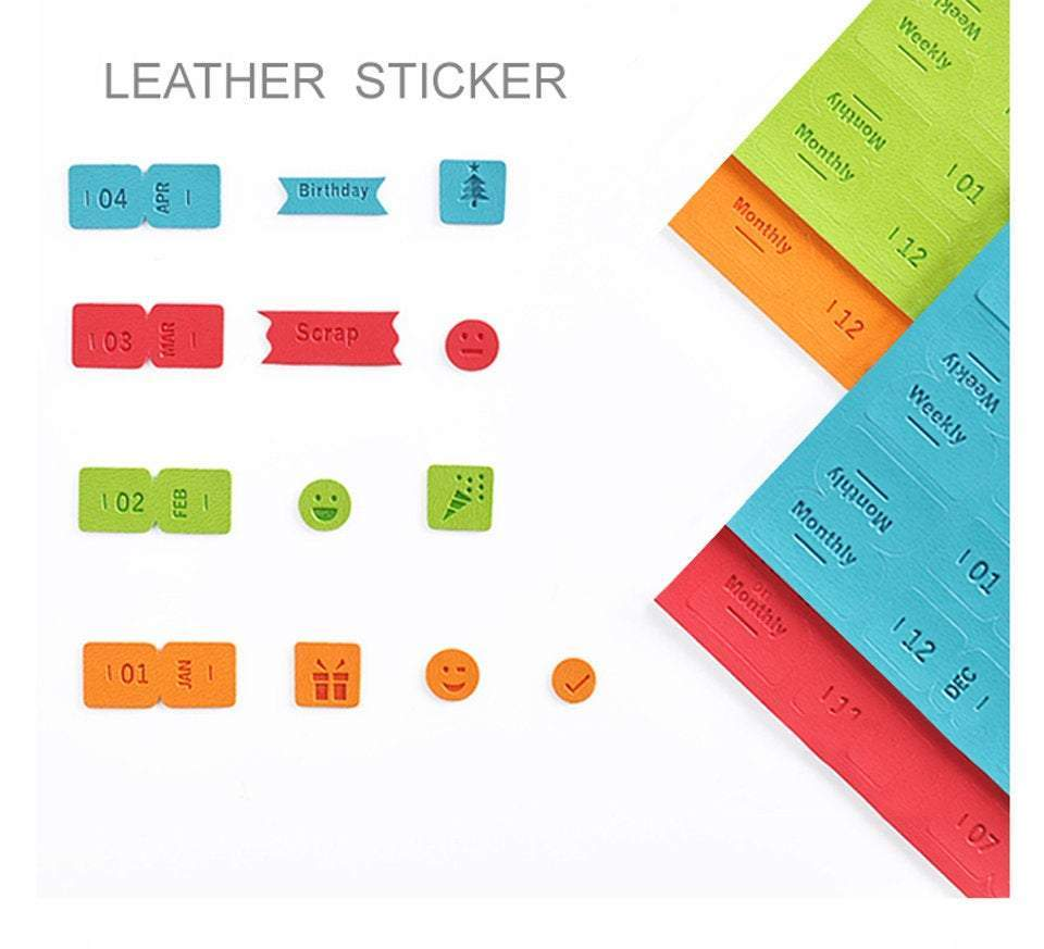 Colorful BLUE Cagie PU Monthly Leather Index Tabs - The Stationery Life!