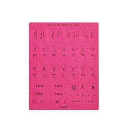 Colorful BRIGHT PINK Cagie PU Monthly Leather Index Tabs - The Stationery Life!