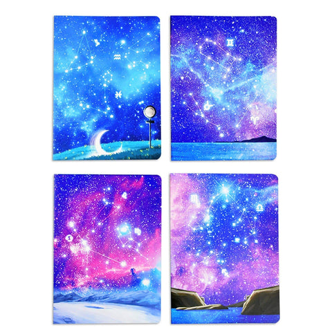 Constellation Zodiac Starry Sky Lay-Flat Velvety Cover Composition Notebook | B5 Constellation Sea - The Stationery Life!