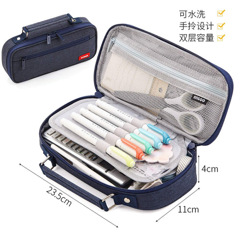 DENIM BLUE Extra Large Canvas Pen Case Pencil Case Storage Case Pencil Case Sectional Pen Case - The Stationery Life!