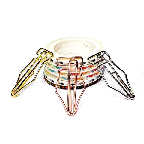Fountain Pen Nib Paper Clip ROSE GOLD Copper Nib Five Paper Clips - The Stationery Life!