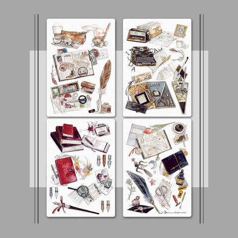 Fountain Pen Quill Ink Retro Steampunk Antique Typewriter Watercolor Ephemera Postcards - The Stationery Life!
