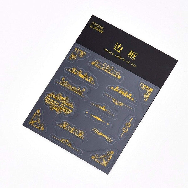 GOLD FOIL Clear PVC Scroll Stickers Element Stickers - The Stationery Life!