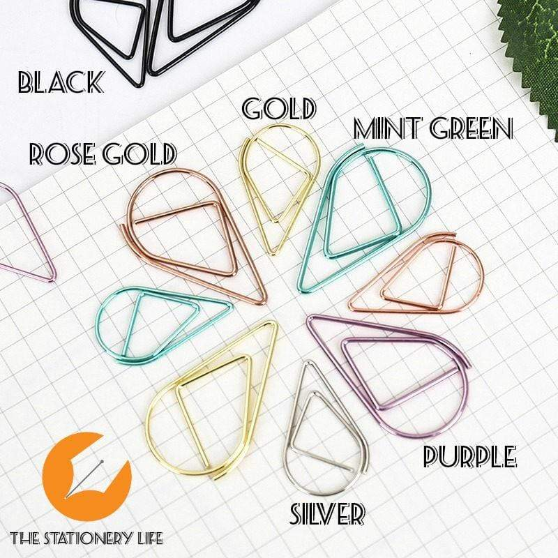 Gold Set Water Drop Tear Drop Teardrop Paper Clips - Three Sizes! - The Stationery Life!