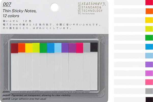 Stalogy Thin Page Markers | 12 Colors 7.5mm