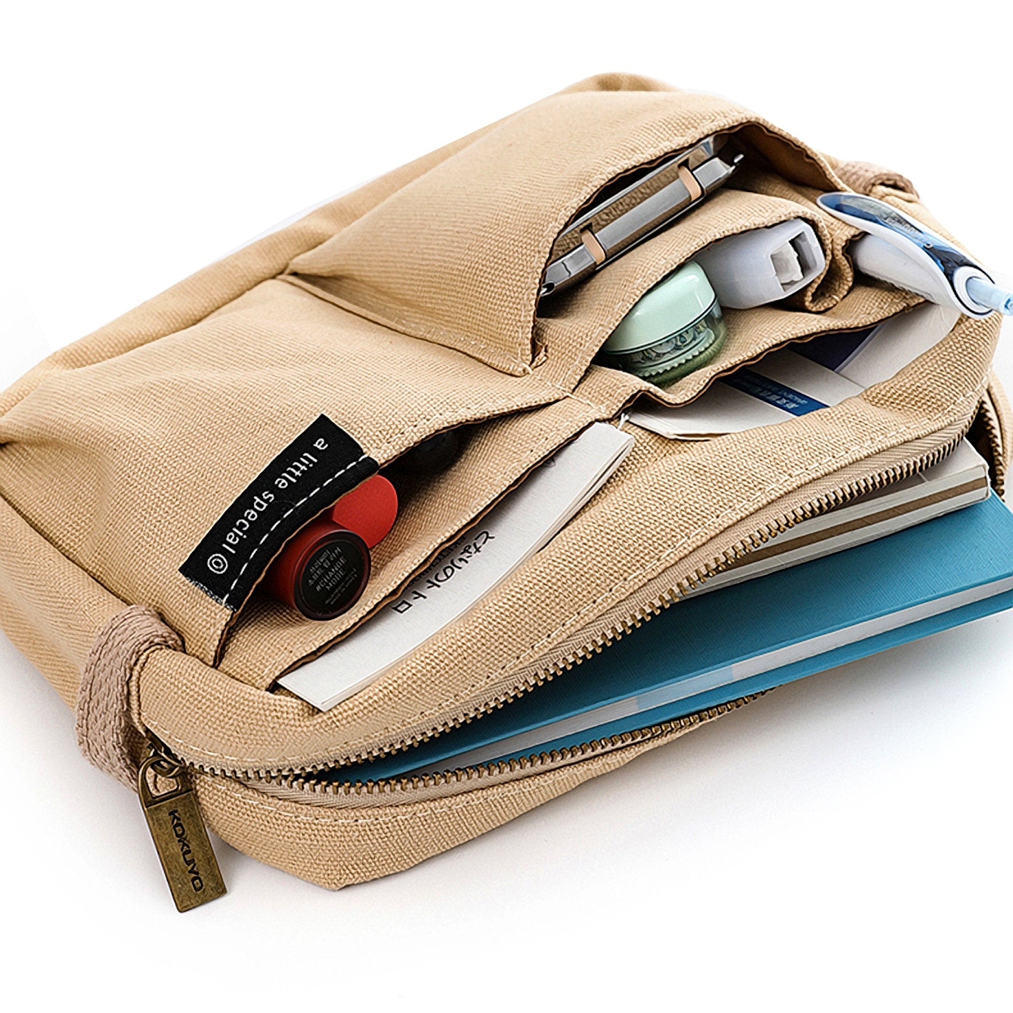 BEIGE Japan KOKUYO NEW One Series Large Capacity Folio Case Bag in Bag Pen Case Pencil Case - The Stationery Life!
