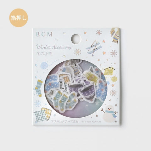 BGM Premium Die-Cut Flake Stickers Winter Accessories Hat Gloves Hot Drinks Pretzels Skis Stickers | FGLW001 - The Stationery Life!