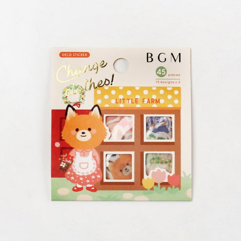 "BGM Premium Die-Cut Flake Okigae ""Change clothes"" Farm Animal Little Farm Animal Stickers 