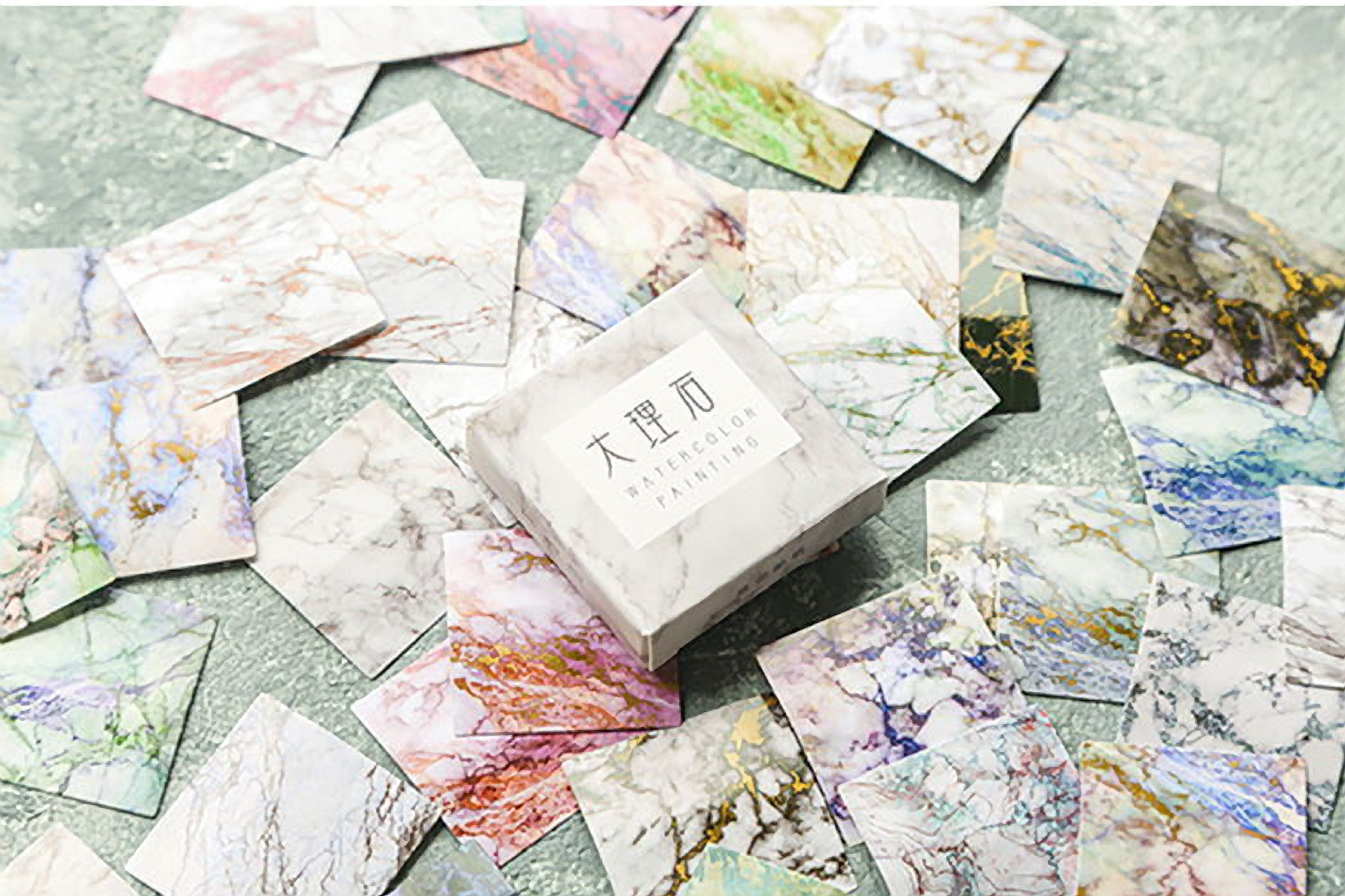 Premium Die-Cut Stickers Color Watercolor Painting Marble Block Frames - The Stationery Life!