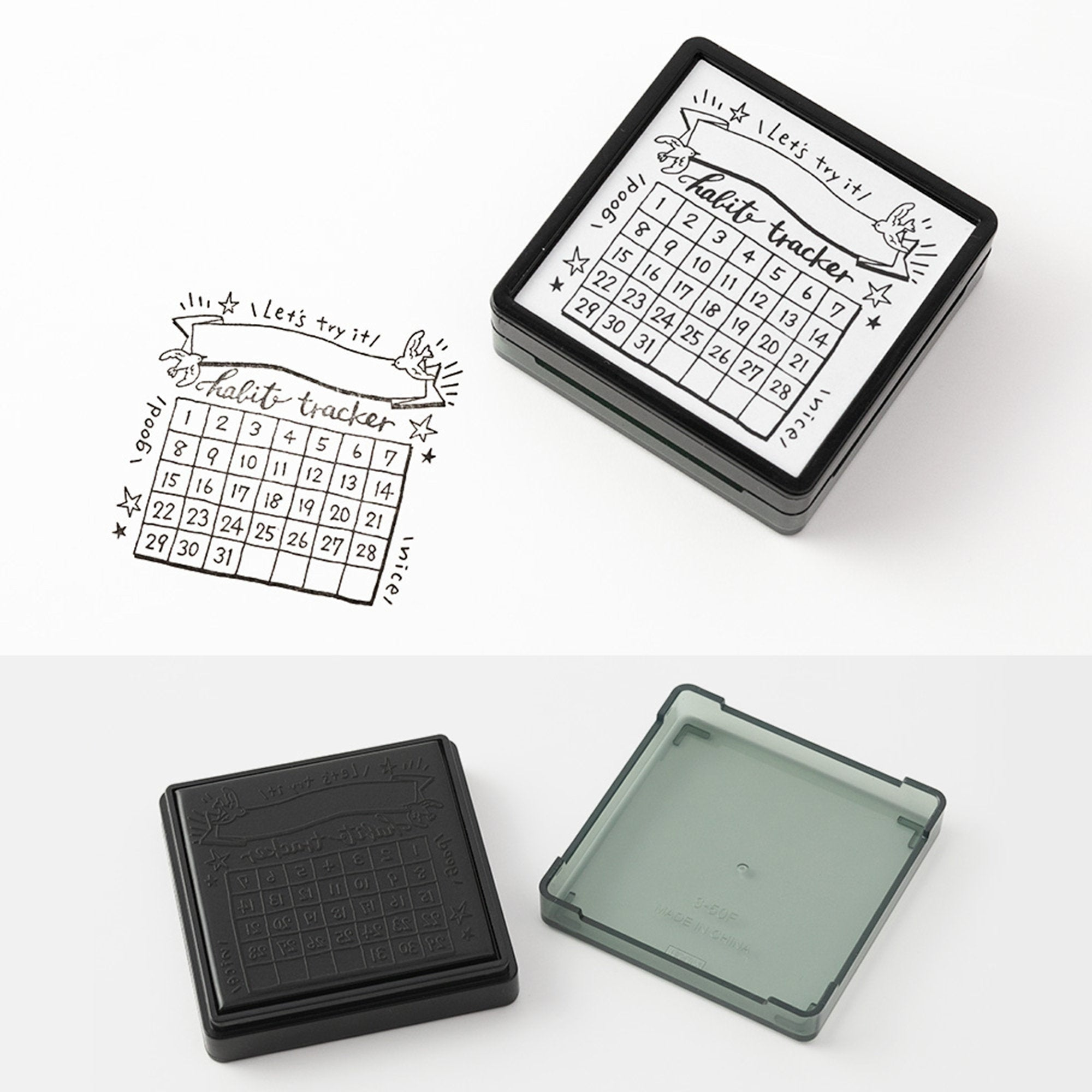 Midori Square Paintable Stamp Re-Inkable Self-Inking Stamp | HABIT TRACKER Green Package - The Stationery Life!