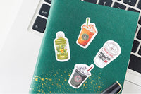 Premium Die-Cut Stickers I Love Drinks Coffee Frappuccino Asian Drinks Beverages - The Stationery Life!