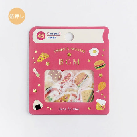 BGM Premium Die-Cut Flake Food Pizza Hamburger Fried Chicken Egg Stickers | FG063 - The Stationery Life!