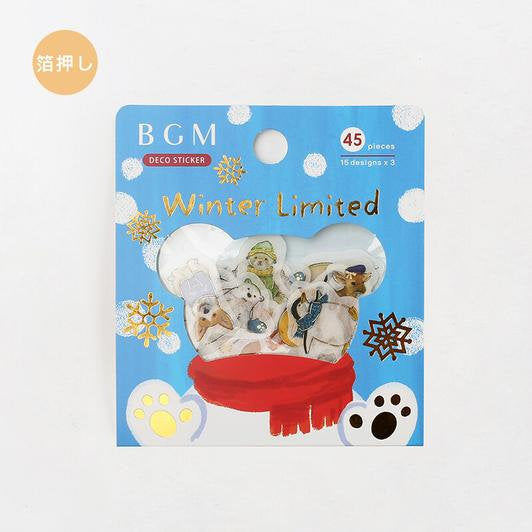 BGM Premium Die-Cut Flake Animals in Winter Clothing Polar Bears Penguins Stickers | Winter Limited - The Stationery Life!
