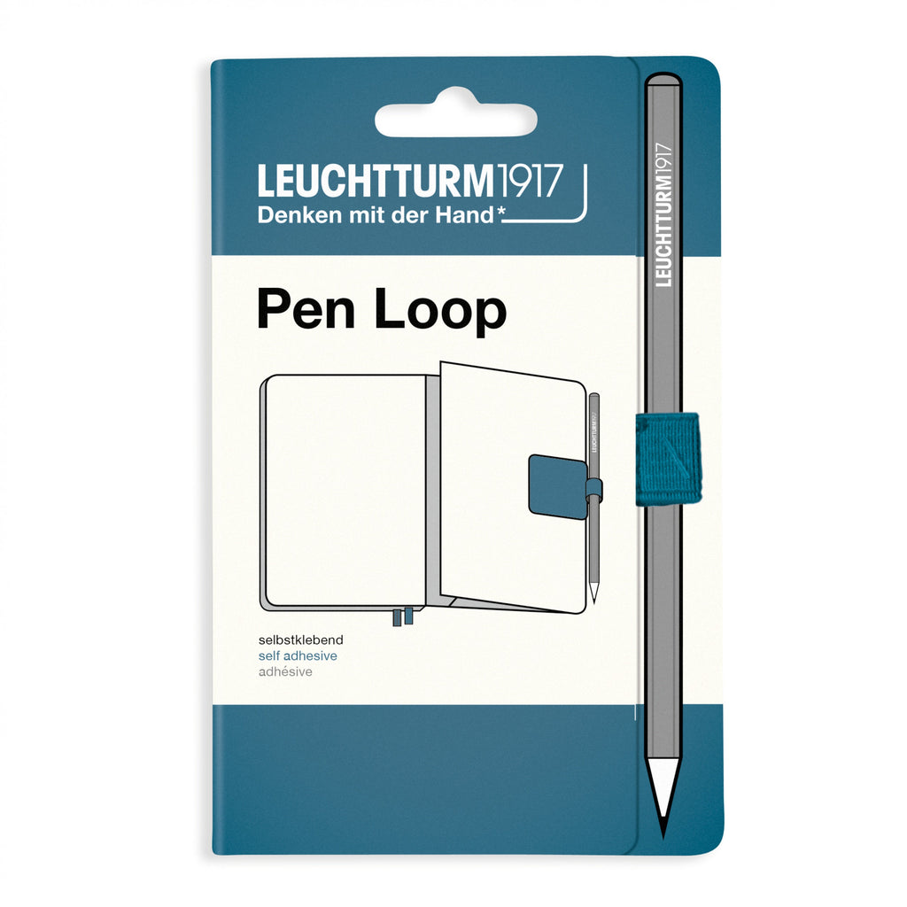 Leuchtturm 1917 Rising Colors STONE BLUE Fabric Pen Loop | Self-Adhesive - The Stationery Life!