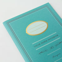Midori A5 BLUE GREEN COLOR Ruled Lined Notebook | Color Paper 56 Pages - The Stationery Life!