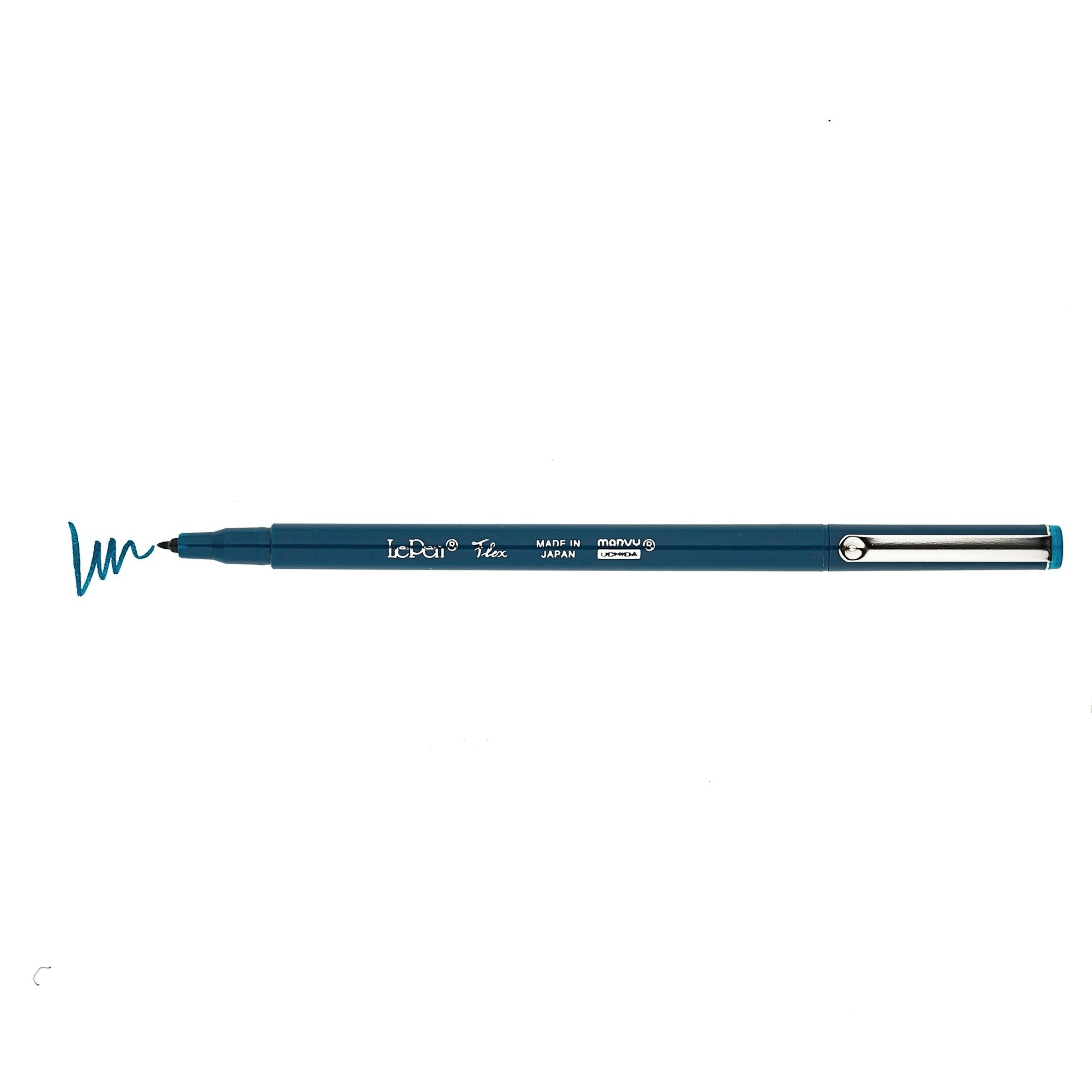Marvy Le Pen FLEX Brush Pen Flexible JEWEL Pen NAVY 4800-6B | Single Pen or Complete Set - The Stationery Life!