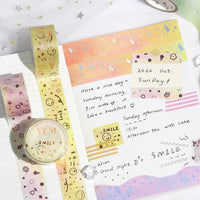 BGM Macaroon Smiley Cheerful Happy Silver Foil Washi Tape - The Stationery Life!