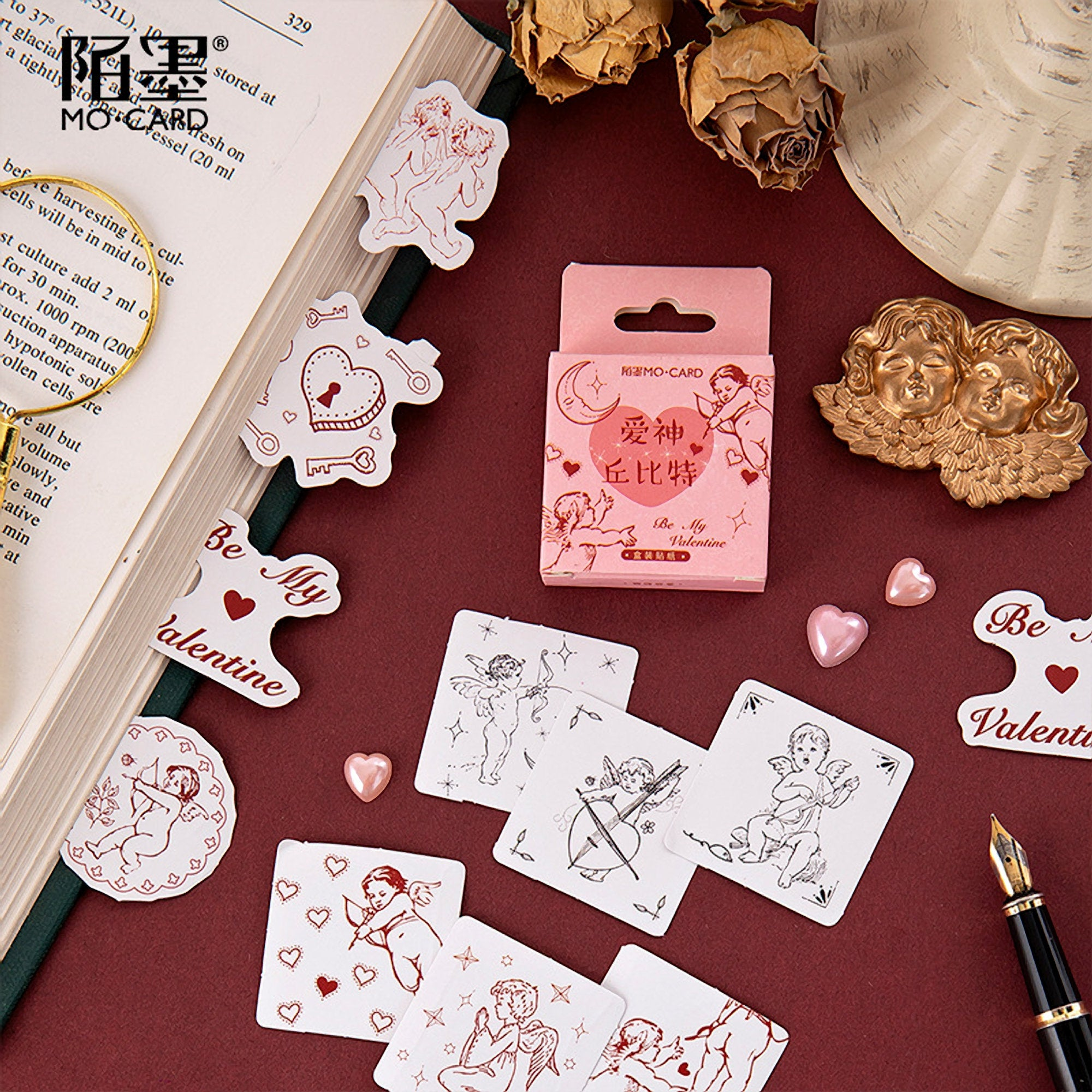 Premium Die-Cut Love Hearts Cupid Lovers Vintage Love Stickers - The Stationery Life!