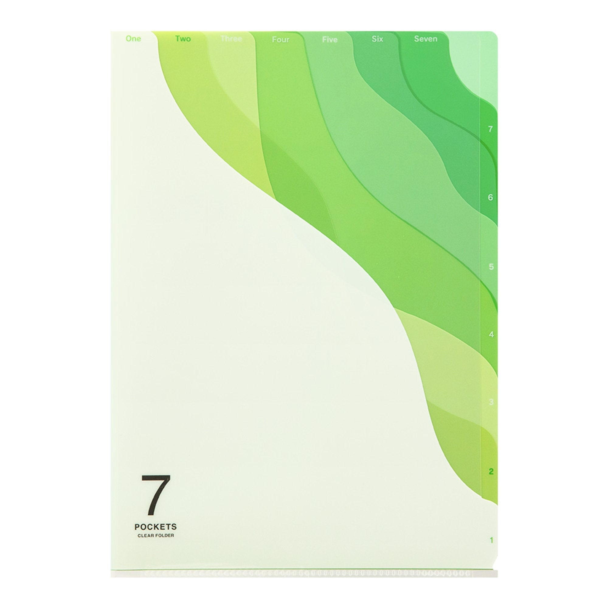 Midori MD A4 7 Pocket GREEN Wave Clear Folder - The Stationery Life!