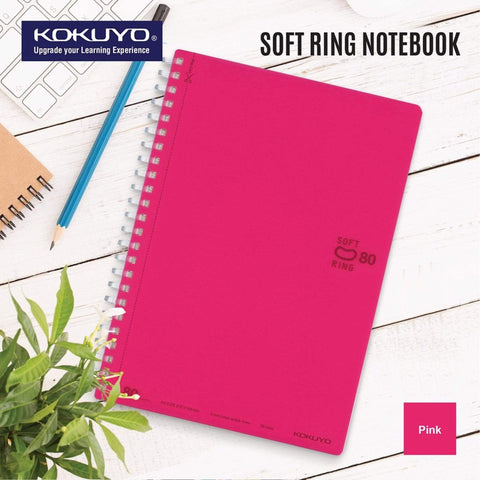 Kokuyo PINK Soft Ring Notebook 5mm Dot Ruled SV457S5 | A6 80 Sheets - The Stationery Life!