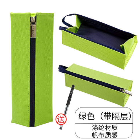 LIME GREEN Japan KOKUYO Large Capacity Folio Canvas Pen Bag Pen Case Pencil Case Storage Case - The Stationery Life!