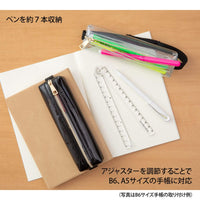 Midori Book Band Pen Case B6-A5 CLEAR Midori Pen Case Canvas Pen Case Adjustable Midori Adjustable Pencil Case - The Stationery Life!