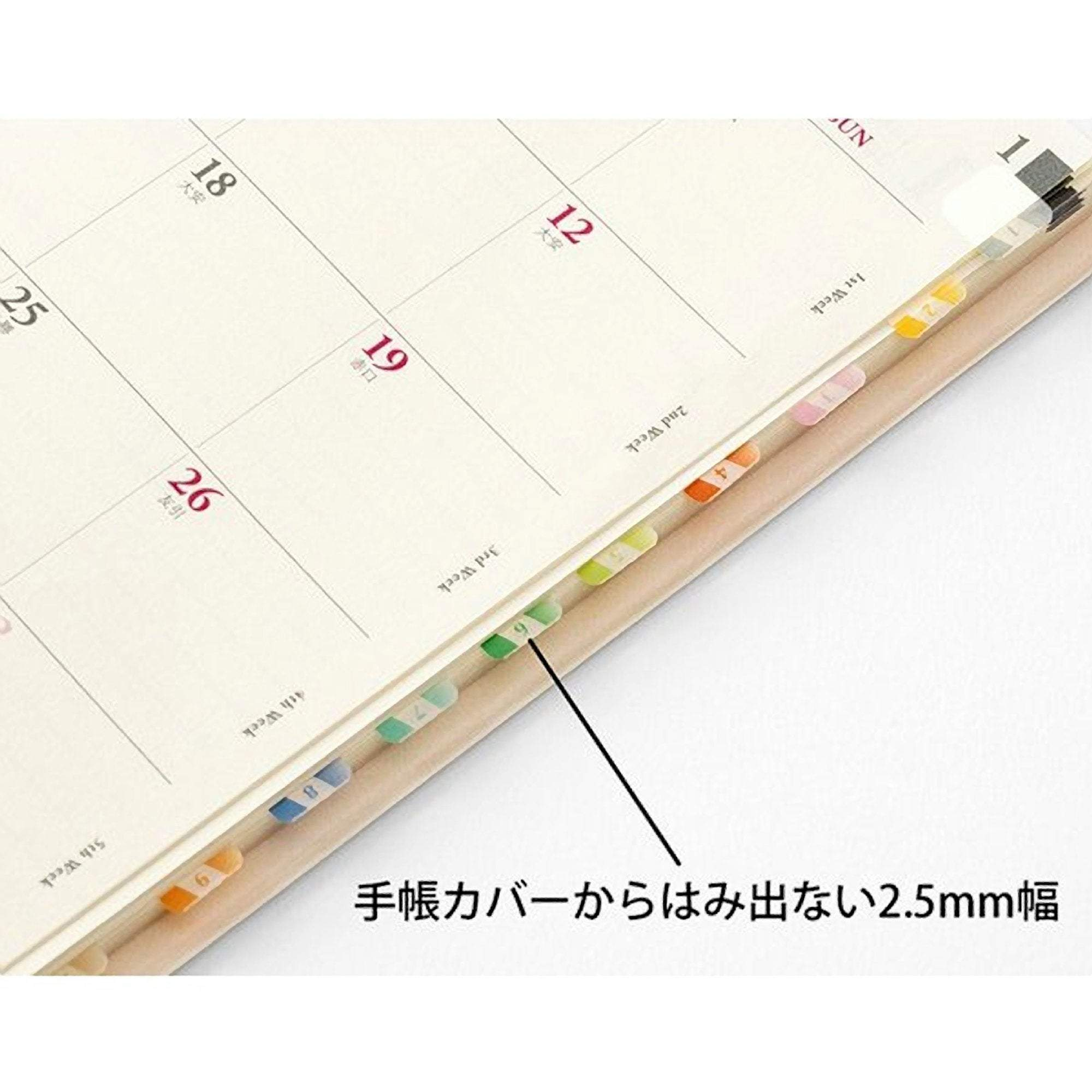 MIDORI Chiratto Index Label Numbered VIVID Rainbow Colors Planner Index Tabs - The Stationery Life!
