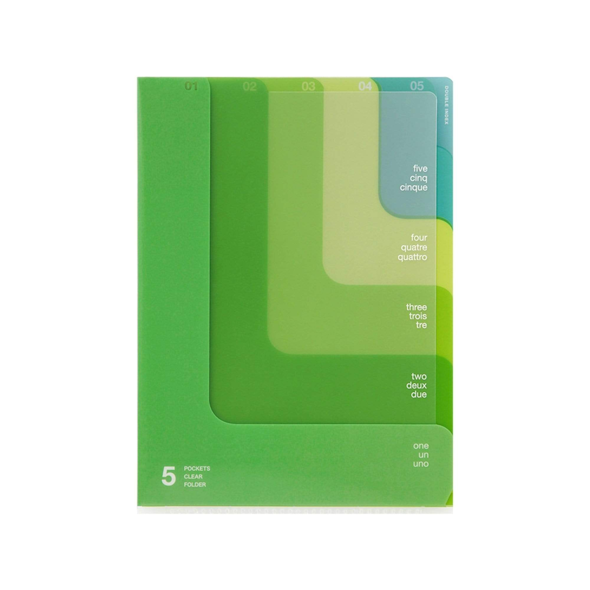 Midori MD A5 5 Pocket Clear Folder | 2-Way Blue Gradient Yellow & Green - The Stationery Life!