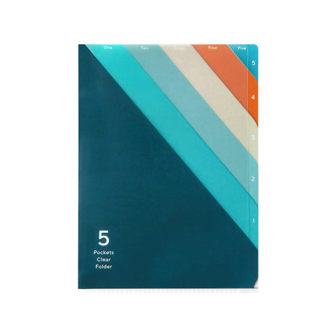 Midori MD A5 5 Pocket Clear Folder | Teal Diagonal Stripe - The Stationery Life!