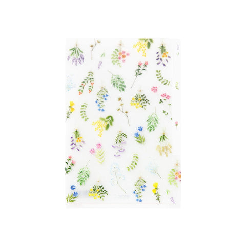 Midori MD A6 3 Pocket Clear Folder | Dried Flowers - The Stationery Life!
