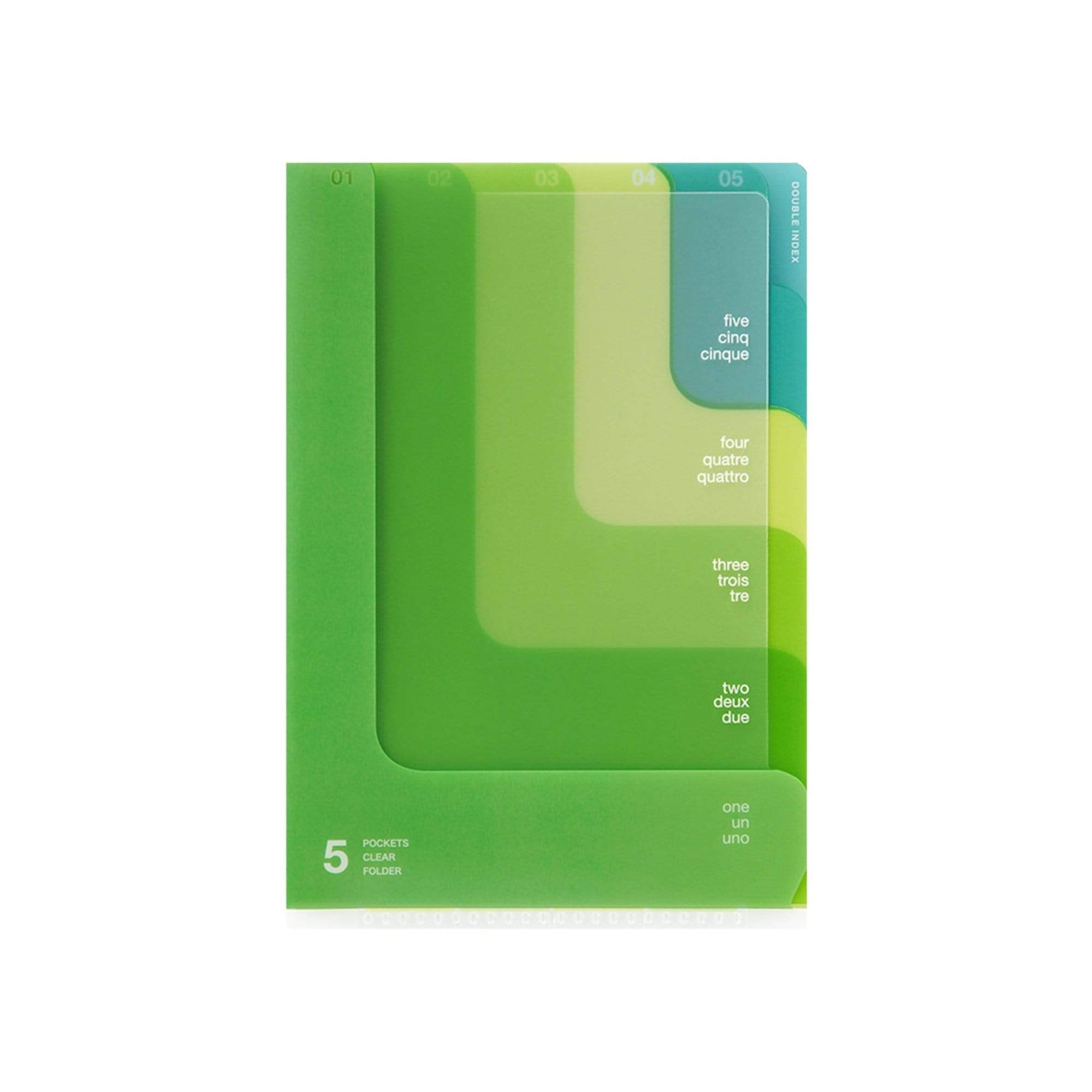 Midori MD A6 5 Pocket Clear Folder | 2-Way Blue Gradient Yellow & Green - The Stationery Life!