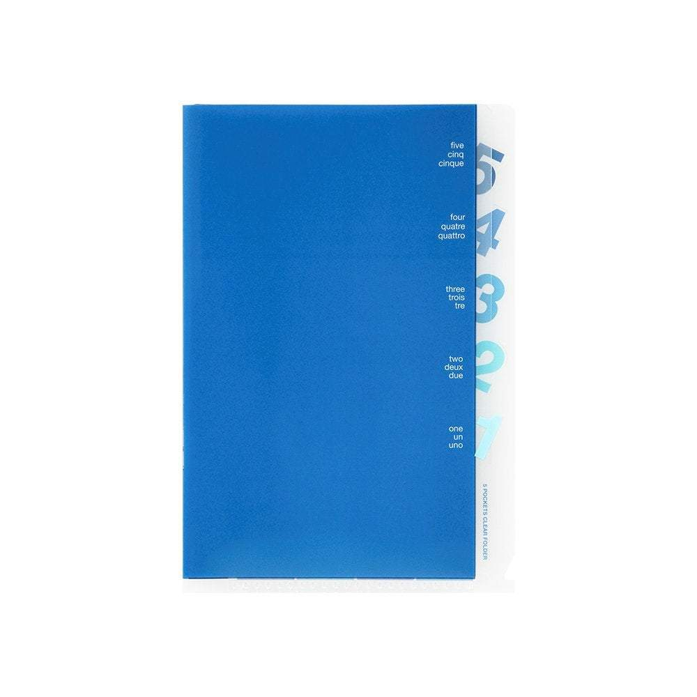 Midori MD A6 5 Pocket Clear Folder | Blue - The Stationery Life!