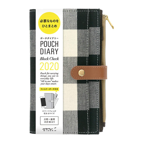Midori Pouch Diary 2020 Block Check Buffalo Plaid | Slim - The Stationery Life!