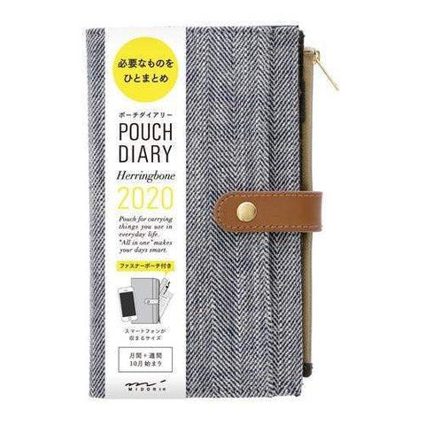 Midori Pouch Diary 2020 Herringbone | Slim - The Stationery Life!