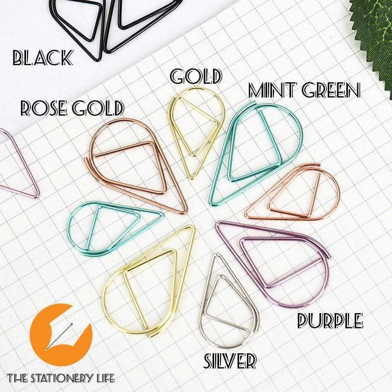 Mint Green Set Water Drop Tear Drop Teardrop Paper Clips - Three Sizes! - The Stationery Life!