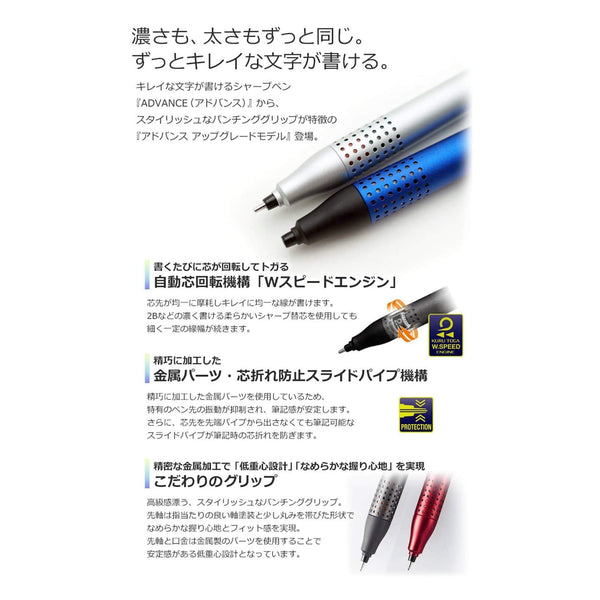 Mitsubishi GRAY Uni Kuru Toga Kurutoga Advance UPGRADE 0.5mm Lead Mechanical Pencil M5-1030 | 0.5mm Lead Mechanical Pencil - The Stationery Life!