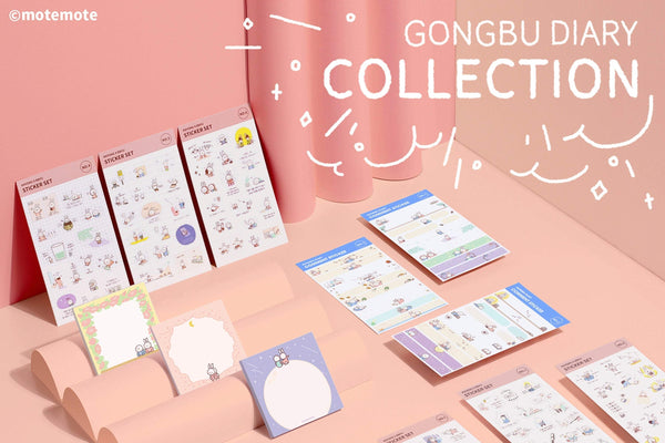 MOTEMOTE Gungbu Diary Kkyong X Bbyu Study Stickers | Six Styles!| USA Located! - The Stationery Life!