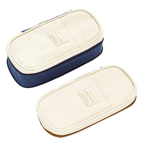 NAVY Expandable Canvas Pen Case Pencil Case Expandable Case Storage Case - The Stationery Life!