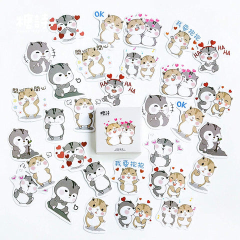 Premium Die-Cut Stickers Chipmunk Love Romance - The Stationery Life!