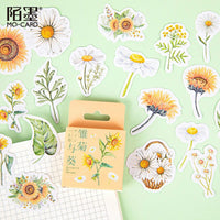 Premium Flowers Die-Cut Stickers Daisy Sunflower - The Stationery Life!