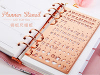 ROSE GOLD Copper Color Stainless Steel Icon Template Icon Stencil Ruler Bujo Template Bujo Stencil - The Stationery Life!
