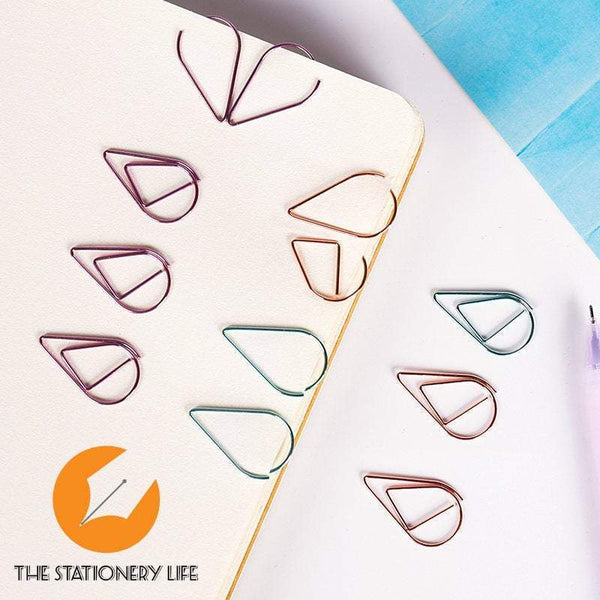 Rose Gold Copper Set Water Drop Tear Drop Teardrop Paper Clips - Three Sizes! - The Stationery Life!
